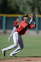 Arizona Diamondbacks infielder Sergio Alcantara (1) during an instructional league game against the San Francisco Giants on October 3, 2013 at Giants Baseball Complex in Scottsdale, Arizona.  (Mike Janes/Four Seam Images)