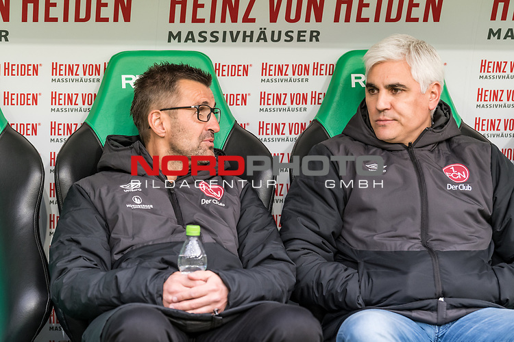 09.02.2019, HDI Arena, Hannover, GER, 1.FBL, Hannover 96 vs 1. FC Nuernberg<br /> <br /> DFL REGULATIONS PROHIBIT ANY USE OF PHOTOGRAPHS AS IMAGE SEQUENCES AND/OR QUASI-VIDEO.<br /> <br /> im Bild / picture shows<br /> Michael Köllner / Koellner (Trainer 1. FC Nuernberg) mit Wasserflasche und Andreas Bornemann (Vorstand Sport 1. FC Nuernberg) auf Trainerbank vor dem Spiel, <br /> <br /> Foto © nordphoto / Ewert