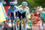 White Jersey Miguel Angel Lopez Moreno (COL) Astana Pro team and Nairo Quintana (COL) Movistar Team on the final climb during Stage 7 of La Vuelta 2019 running 183.2km from Onda to Mas de la Costa, Spain. 30th August 2019.<br /> Picture: Luis Angel Gomez/Photogomezsport | Cyclefile<br /> <br /> All photos usage must carry mandatory copyright credit (© Cyclefile | Luis Angel Gomez/Photogomezsport)