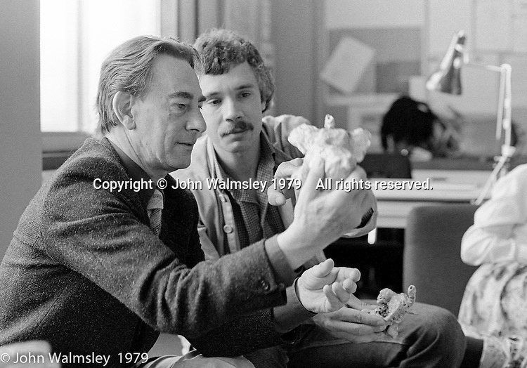 Jack Firth (foreground), Art Advisor, and Tom Bonnar, art teavher, at the Education Centre, Wester Hailes, Scotland, 1979.  John Walmsley was Photographer in Residence at the Education Centre for three weeks in 1979.  The Education Centre was, at the time, Scotland's largest purpose built community High School open all day every day for all ages from primary to adults.  The town of Wester Hailes, a few miles to the south west of Edinburgh, was built in the early 1970s mostly of blocks of flats and high rises.