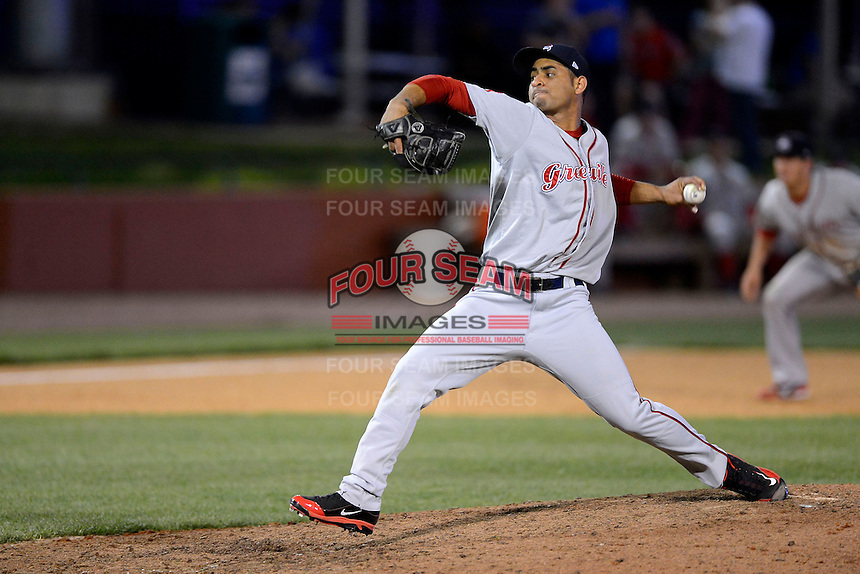 Greenville Drive pitcher Francisco Taveras #39 during a game against the Lexington Legends on April 18, 2013 at Whitaker Bank Ballpark in Lexington, Kentucky.  Lexington defeated Greenville 12-3.  (Mike Janes/Four Seam Images)