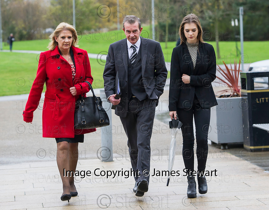 Kevin Scott, brother of Helen Scott, arrives at the High Court in Livingston with his wife Christine and daughter Aimee Helen Scott, who will be 17 on Sunday,  to hear the jury's verdict. <br />    <br /> <br /> Angus Sinclair is on trial accused of murdering two teenagers, Helen Scott and Christine Eadie, who were last seen on a night out at the World's End pub on Edinburgh's Royal Mile Edinburgh in October 1977.