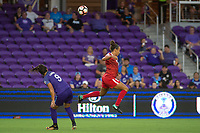 Orlando, FL - Tuesday August 08, 2017: Camila Martins Pereira, Mallory Pugh during a regular season National Women's Soccer League (NWSL) match between the Orlando Pride and the Chicago Red Stars at Orlando City Stadium.