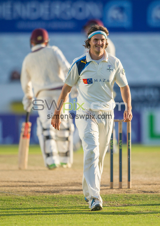 Picture by Allan McKenzie/SWpix.com - 26/09/2014 - Cricket - LV County Championship Div One - Yorkshire County Cricket Club v Somerset County Cricket Club - Headingley Cricket Ground, Leeds, England - Yorkshire's Jack Brooks.
