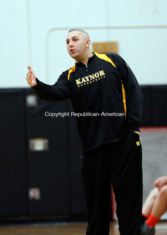 Watertown, CT- 04 December 2015-1204115CM11- Kaynor Tech girls head basketball coach,  Brian Stasaitis commands his team during a scrimmage in Watertown on Friday.     Christopher Massa Republican-American