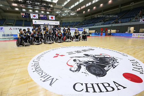 Japan team group (JPN), <br /> October 31, 2015 - Wheelchair Rugby :<br /> IWRF 2015 Asia-Oceania Championship<br /> Preliminary League match between Japan - New Zealand<br /> at Chiba Port Arena in Chiba, Japan.<br /> (Photo by Yohei Osada/AFLO SPORT)