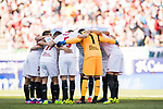 Players of Sevilla FC huddle prior to the La Liga match between Atletico de Madrid and Sevilla FC at the Estadio Vicente Calderon on 19 March 2017 in Madrid, Spain. Photo by Diego Gonzalez Souto / Power Sport Images