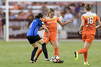 Houston, TX - Sunday August 13, 2017:  Christina Gibbons and Cami Privett during a regular season National Women's Soccer League (NWSL) match between the Houston Dash and FC Kansas City at BBVA Compass Stadium.