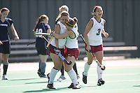 STANFORD, CA - OCTOBER 19:  Heather Alcorn of the Stanford Cardinal celebrates with Xanthe Travlos during Stanford's 12-0 win over UC Davis on October 19, 2008 at the Varsity Field Hockey Turf in Stanford, California.