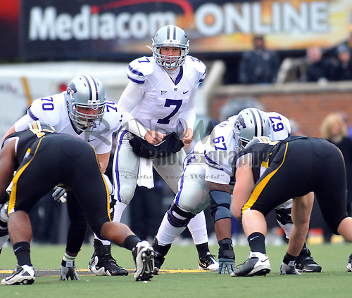 Nov 13, 2010; Columbia, MO, USA; Kansas State Wildcats quarterback Collin Klein (7) goes under center in the first half of the game against the Missouri Tigers at Memorial Stadium. Mandatory Credit: Denny Medley-US PRESSWIRE