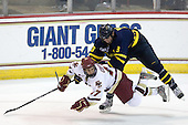 Brian Gibbons (BC - 17), Kyle Bigos (Merrimack - 3) - The Boston College Eagles defeated the Merrimack College Warriors 4-3 on Friday, October 30, 2009, at Conte Forum in Chestnut Hill, Massachusetts.