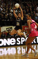 NZ's Liana Barrett-Chase takes a pass during the International  Netball Series match between the NZ Silver Ferns and World 7 at TSB Bank Arena, Wellington, New Zealand on Monday, 24 August 2009. Photo: Dave Lintott / lintottphoto.co.nz