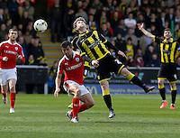 Burton Albion v Barnsley 16.4.16 .Sky Bet League 1 ....... Burtons Matty palmer gets the better of Barnsleys Robbie Weir