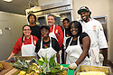 Liberty Kitchen cooks and trainees Jory Adams, Chef Kevin Hackett, trainee Charles Williams, and staff cook Paul Dyer (back row), staff cook Reggi Ward, trainees Kierstin Mitchell and Kearrol Bridges (front row), New Orleans, Thurs., March 22, 2012.