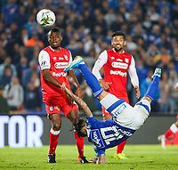 BOGOTA, COLOMBIA - MARCH 03: Cristian Arango of Millonarios misses a shot against Independiente Santa Fe during the match between Millonarios and Independiente Santa Fe as part of the Liga BetPlay at Estadio El Campin on March 3, 2020 in Bogota, Colombia. (Photo by John W. Vizcaino/VIEW press/Getty Images)
