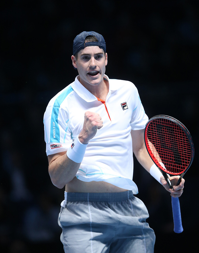 John Isner of the United States during his match against  Croatia's Marin Cilic<br /> <br /> Photographer Rob Newell/CameraSport<br /> <br /> International Tennis - Nitto ATP World Tour Finals Day 4 - O2 Arena - London - Wednesday 14th November 2018<br /> <br /> World Copyright © 2018 CameraSport. All rights reserved. 43 Linden Ave. Countesthorpe. Leicester. England. LE8 5PG - Tel: +44 (0) 116 277 4147 - admin@camerasport.com - www.camerasport.com
