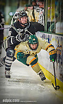 16 November 2013: University of Vermont Catamount Forward Pete Massar, a Senior from Williston, VT, is checked by Providence College Friar Defenseman Anthony Florentino, a Freshman from West Roxbury, Mass., during second period action  at Gutterson Fieldhouse in Burlington, Vermont. The Friars shut out the Catamounts to sweep the 2-game weekend Hockey East Series. Mandatory Credit: Ed Wolfstein Photo *** RAW (NEF) Image File Available ***