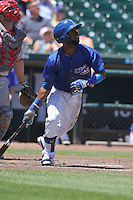 Iowa Cubs Arismendy Alcantara (7) swings during the Pacific Coast League game against the Memphis Redbirds at Principal Park on June 7, 2016 in Des Moines, Iowa.  Iowa won 6-5.  (Dennis Hubbard/Four Seam Images)