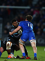 28th February 2020; RDS Arena, Dublin, Leinster, Ireland; Guinness Pro 14 Rugby, Leinster versus Glasgow; Mesulame Dolokoto (Glasgow Warriors) is tackled by Jack Dunne (Leinster)