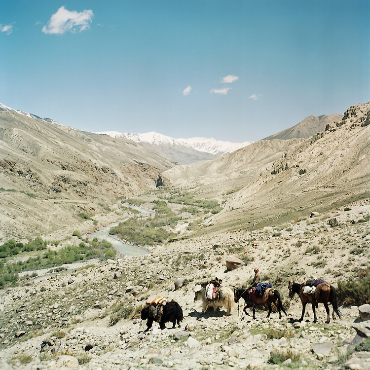 Kyrgzy traders hike to the base of the Big Pamir Mountains to trade with villages in the Wakhan Corridor.