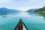 Canoing on Harrison Lake, BC, Canada in summer.