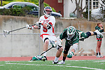 Palos Verdes, CA 04/20/10 - Tommy O'Hern (Palos Verdes #9) and Tom Farrell (Mira Costa #18) in action during the Mira Costa-Palos Verdes boys lacrosse game.