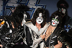 HOLLYWOOD, CA - MARCH 20: Gene Simmons, Tommy Thayer, Eric Singer of Kiss attend the 'Kiss, Motley Crue: The Tour' Press Conference at Hollywood Roosevelt Hotel on March 20, 2012 in Hollywood, California.