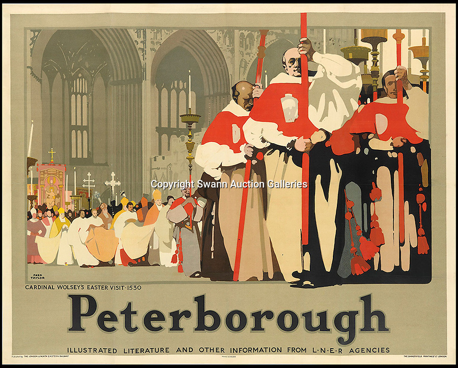 BNPS.co.uk (01202 558833)<br /> Pic: SwannGalleries/BNPS<br /> <br /> ***Please Use Full Byline***<br /> <br /> Peterborough - 1935 - £800<br /> <br /> Beautiful posters from the halcyon days of travel up for auction.<br /> <br /> Scarce vintage travel posters promoting holidays across the globe in the 1920's and 30's are tipped to sell for over £200,000 .<br /> <br /> The fine collection of 200 works of art that hark back to the halcyon days of train and boat travel have been brought together for sale.<br /> <br /> The posters were used to advertise dream holiday destinations in far-flung places such as the US and Australia and to celebrate the luxurious ways of getting to them.<br /> <br /> Most of the advertising posters date back to the 1930s and are Art Deco in style and they are all from the original print-run.