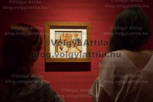 Visitors watch an artwork by Mexican painter Frida Kahlo titled Without hope seen on display at the Frida Kahlo exhibition in the National Gallery in Budapest, Hungary on July 5, 2018. ATTILA VOLGYI