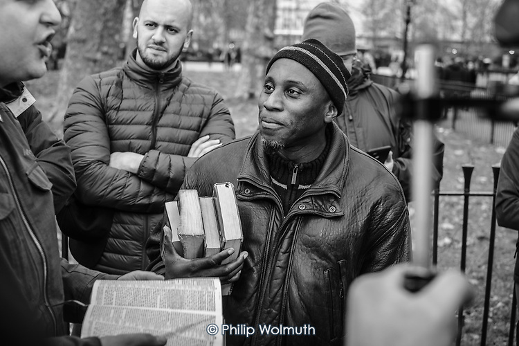 Christian and Muslim debaters, Speakers' Corner, Hyde Park, London.