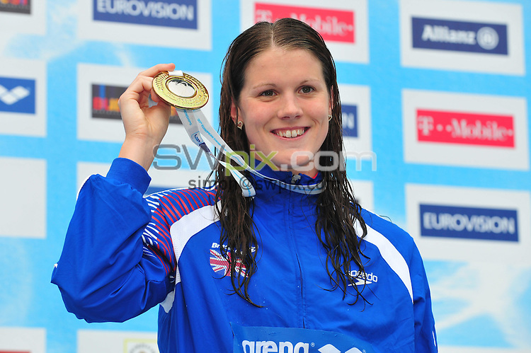 PICTURE BY ALEX BROADWAY/SWPIX.COM - Swimming - LEN European Championships Day Twelve - Diving - Budapest, Hungary - 15/08/10..Copyright - Simon Wilkinson - 07811267706...Kate Haywood of Great Britain poses with her silver medal after finishing second in the Women's 50m Breaststroke final.
