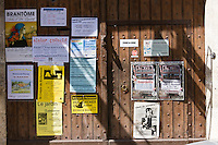 Posters in quaint town of Bourdeilles popular tourist destination near Brantome in Northern Dordogne, France