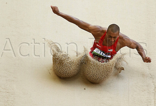 28.08.2015. Birds Nest Stadium, Beijing, China.  Ashton Eaton of the USA competes in the Man's Long Jump Decathlon competition at the 15th International Association of Athletics Federations (IAAF) Athletics World Championships at the National stadium, known as Bird's Nest, in Beijing, China, 28 August 2015.