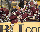 Andrew Orpik, Jerry York, Matt Greene, Mike Cavanaugh, Brian Boyle, Benn Ferreiro - The Boston University Terriers defeated the Boston College Eagles 2-1 in overtime in the March 18, 2006 Hockey East Final at the TD Banknorth Garden in Boston, MA.