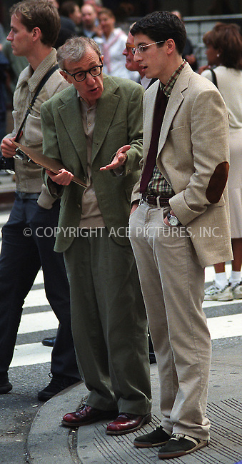 "Woody Allen and Jason Biggs filming ""Anything Else"" on Broadway at 49th Street. New York, June 7, 2002. Please byline: Alecsey Boldeskul/NY Photo Press.   ..*PAY-PER-USE*      ....NY Photo Press:  ..phone (646) 267-6913;   ..e-mail: info@nyphotopress.com"