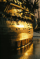 Old Ironsides, USS Constitution, Charlestown, Boston, MA sunrise light on side