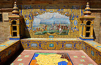 View of the azulejos (mosaic) of the Albacete province in the Plaza de Espana, Seville, Andalusia, Spain.