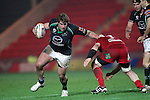 Peter Borlase hands off Johnathan Edwards..RaboDirect Pro12.Scarlets v Connacht.02.03.12.©STEVE POPE