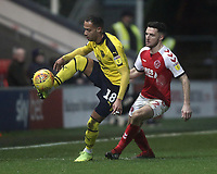 Oxford United's Jordan Graham controls under pressure from Fleetwood Town's Lewis Coyle<br /> <br /> Photographer Rich Linley/CameraSport<br /> <br /> The EFL Sky Bet League One - Fleetwood Town v Oxford United - Saturday 12th January 2019 - Highbury Stadium - Fleetwood<br /> <br /> World Copyright &copy; 2019 CameraSport. All rights reserved. 43 Linden Ave. Countesthorpe. Leicester. England. LE8 5PG - Tel: +44 (0) 116 277 4147 - admin@camerasport.com - www.camerasport.com