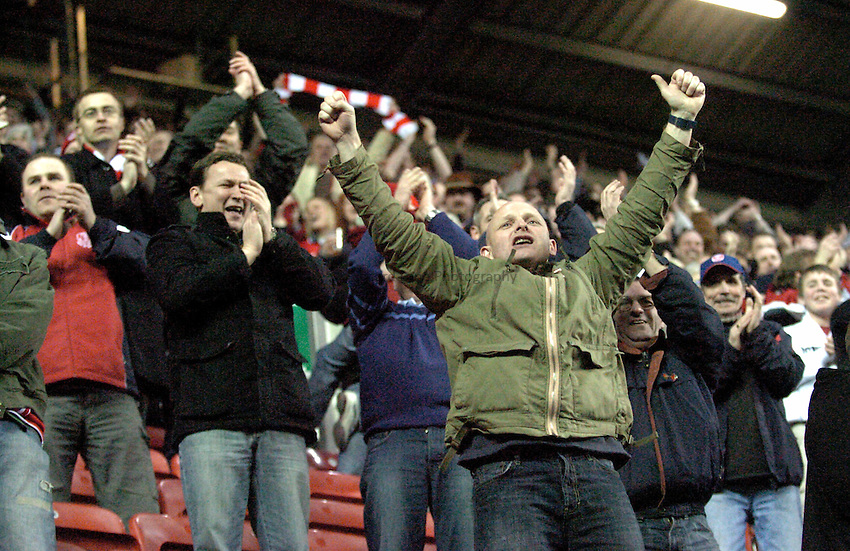Photo: Paul Greenwood..Wigan Warriors v Hull KR. Engage Super League 2007. 02/03/2007..Hull KR Fans celebrate taking a 10 point lead in the first half