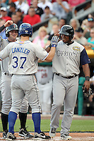 Russ Canzler #37 of the Durham Bulls hits a three-run homerun for the International League All-Stars, driving in the only runs in the annual Triple-A All-Star Game against the Pacific Coast League All-Stars at Spring Mobile Ballpark on July 13, 2011  in Salt Lake City, Utah. The International League won the game, 3-0. Bill Mitchell/Four Seam Images.