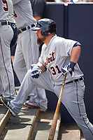 Detroit Tigers third baseman Casey McGehee (31) waits to bat in the dugout during a Spring Training game against the New York Yankees on March 2, 2016 at George M. Steinbrenner Field in Tampa, Florida.  New York defeated Detroit 10-9.  (Mike Janes/Four Seam Images)