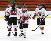 Katy Applin (NU - 20), Stephanie Gavronsky (NU - 44), Kelly Wallace (NU - 5), Kristi Kehoe (NU - 34) - The Northeastern University Huskies defeated the Boston University Terriers in a shootout after being tied at 4 following overtime in their Beanpot semi-final game on Tuesday, February 2, 2010 at the Bright Hockey Center in Cambridge, Massachusetts.