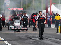 Apr 12, 2019; Baytown, TX, USA; Gary Pritchett, crew member for NHRA top fuel driver Steve Torrence during qualifying for the Springnationals at Houston Raceway Park. Mandatory Credit: Mark J. Rebilas-USA TODAY Sports