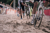 CX World Champion Wout Van Aert (BEL/Crelan-Charles) plowing through the sand box<br /> <br /> CX Brico Cross Eeklo 2017 (BEL)