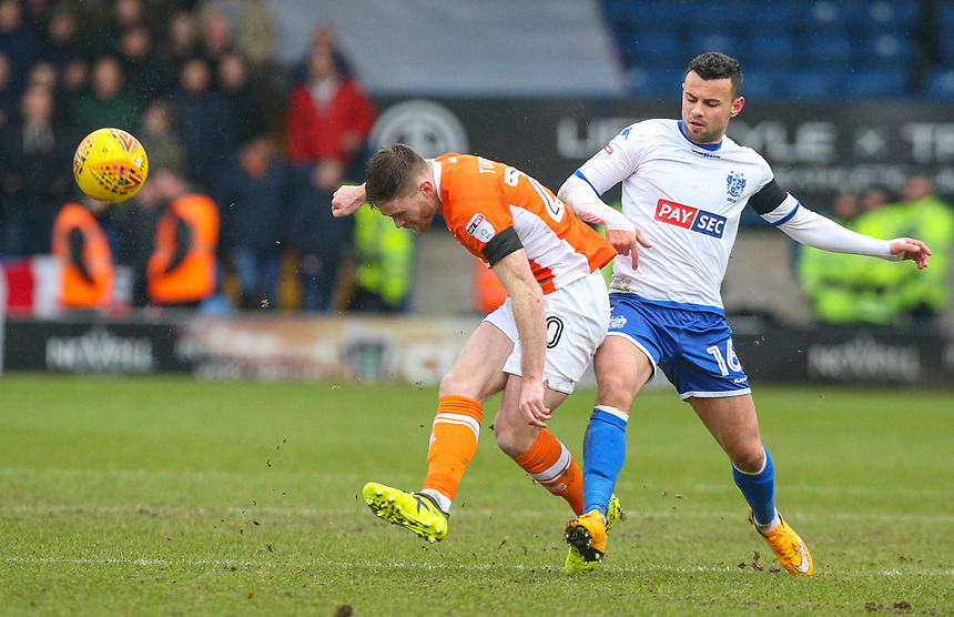 Blackpool's Oliver Turton battles with Bury's Zeli Ismail<br /> <br /> Photographer Alex Dodd/CameraSport<br /> <br /> The EFL Sky Bet League One - Bury v Blackpool - Saturday 3rd February 2018 - Gigg Lane - Bury<br /> <br /> World Copyright &copy; 2018 CameraSport. All rights reserved. 43 Linden Ave. Countesthorpe. Leicester. England. LE8 5PG - Tel: +44 (0) 116 277 4147 - admin@camerasport.com - www.camerasport.com