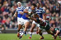 Anthony Watson of Bath Rugby looks to get past George Worth of Leicester Tigers. Gallagher Premiership match, between Leicester Tigers and Bath Rugby on May 18, 2019 at Welford Road in Leicester, England. Photo by: Patrick Khachfe / Onside Images