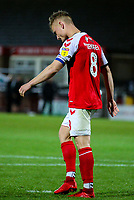Fleetwood Town's Kyle Dempsey reacts after missing a penalty<br /> <br /> Photographer Alex Dodd/CameraSport<br /> <br /> The EFL Checkatrade Trophy - Northern Group B - Fleetwood Town v Leicester City U21 - Tuesday September 11th 2018 - Highbury Stadium - Fleetwood<br />  <br /> World Copyright &copy; 2018 CameraSport. All rights reserved. 43 Linden Ave. Countesthorpe. Leicester. England. LE8 5PG - Tel: +44 (0) 116 277 4147 - admin@camerasport.com - www.camerasport.com