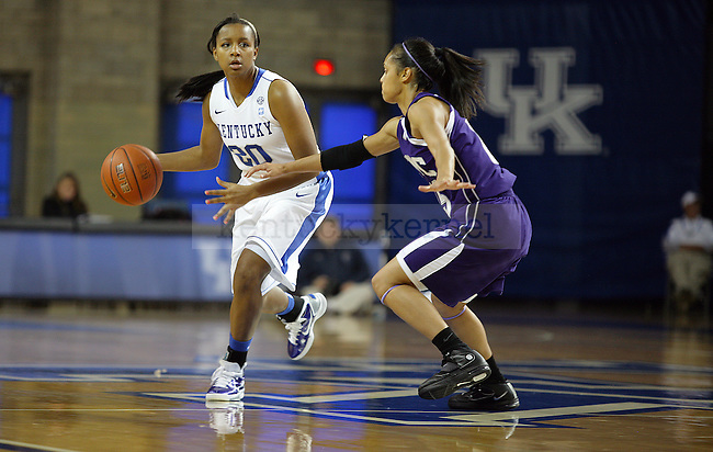 Maegan Conwright drives the ball in exhibition play against Kentucky Wesleyan at Memorial Coliseum on November 7, 2010. Photo by Ryan Buckler | Staff