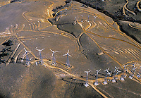 aerial photograph of wind turbines, Tehachapi, Kern County, California